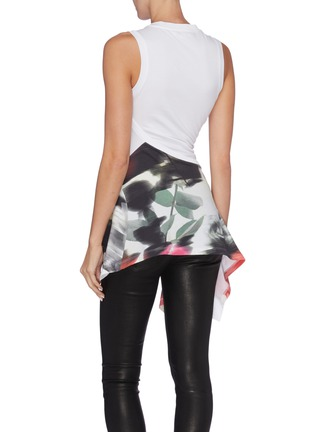 Back View - Click To Enlarge - ALEXANDER MCQUEEN - Twist front drape panel rose print tank top