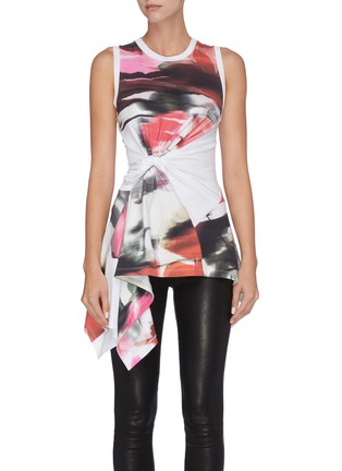 Main View - Click To Enlarge - ALEXANDER MCQUEEN - Twist front drape panel rose print tank top