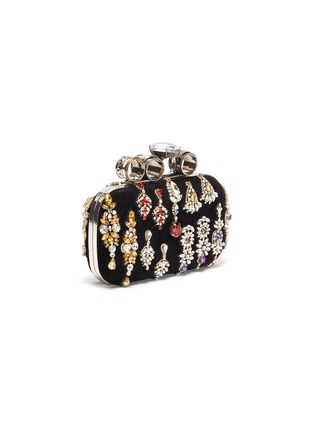 Detail View - Click To Enlarge - ALEXANDER MCQUEEN - Strass embellished velvet four-ring box clutch