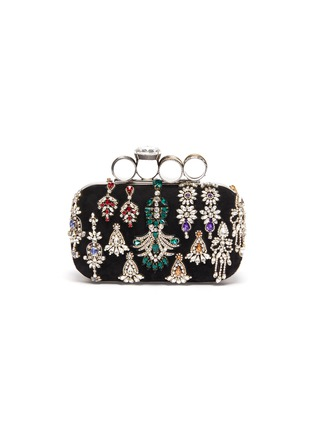 Main View - Click To Enlarge - ALEXANDER MCQUEEN - Strass embellished velvet four-ring box clutch