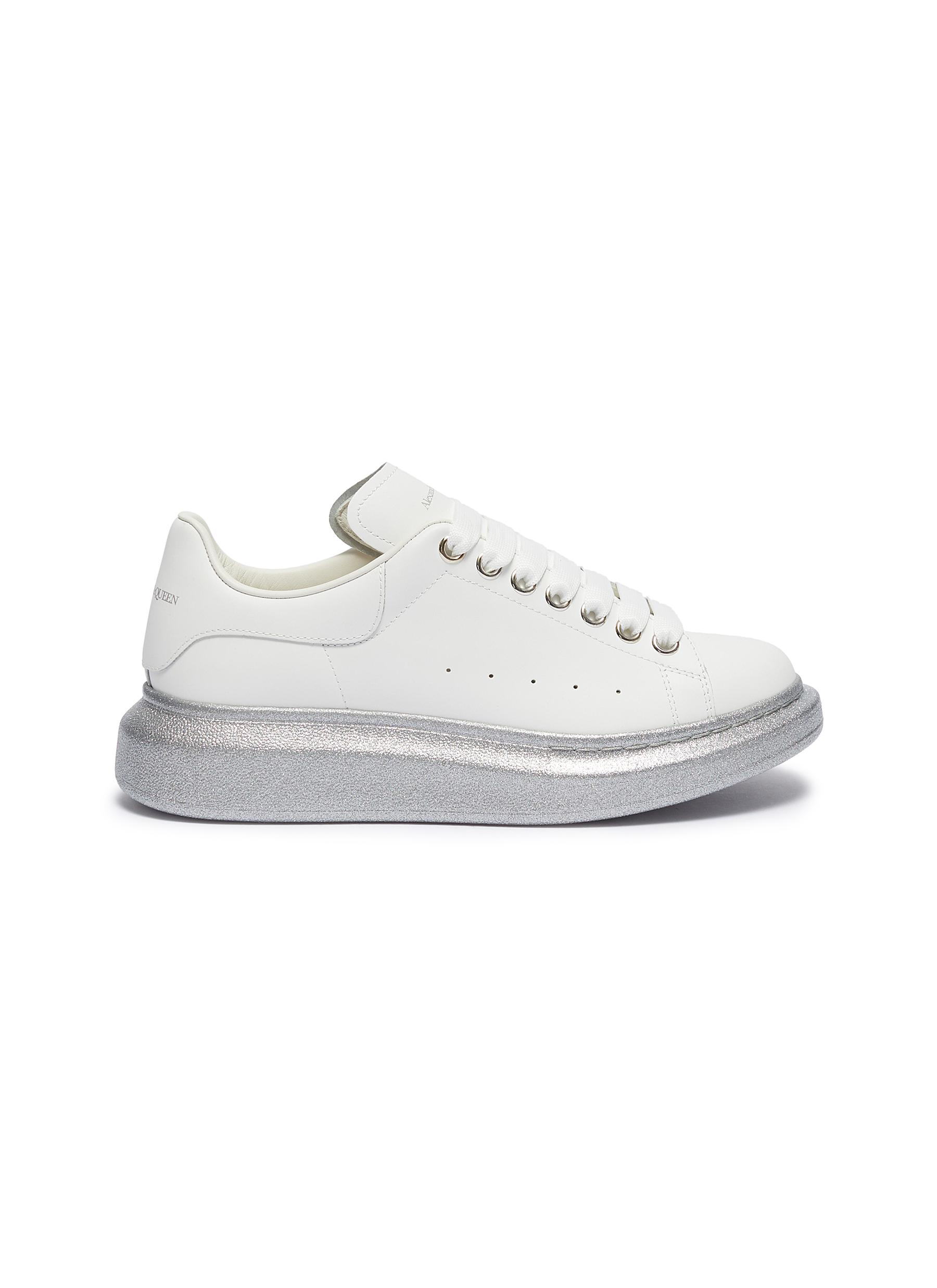 Oversized Sneaker in leather with glitter outsole by Alexander Mcqueen
