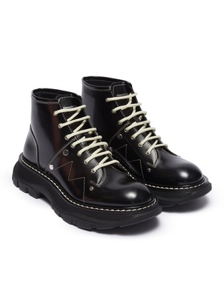 Detail View - Click To Enlarge - ALEXANDER MCQUEEN - Contrast stitching chunky outsole patent leather combat boots