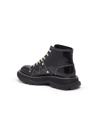 - ALEXANDER MCQUEEN - Contrast stitching chunky outsole patent leather combat boots