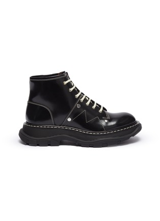 Main View - Click To Enlarge - ALEXANDER MCQUEEN - Contrast stitching chunky outsole patent leather combat boots