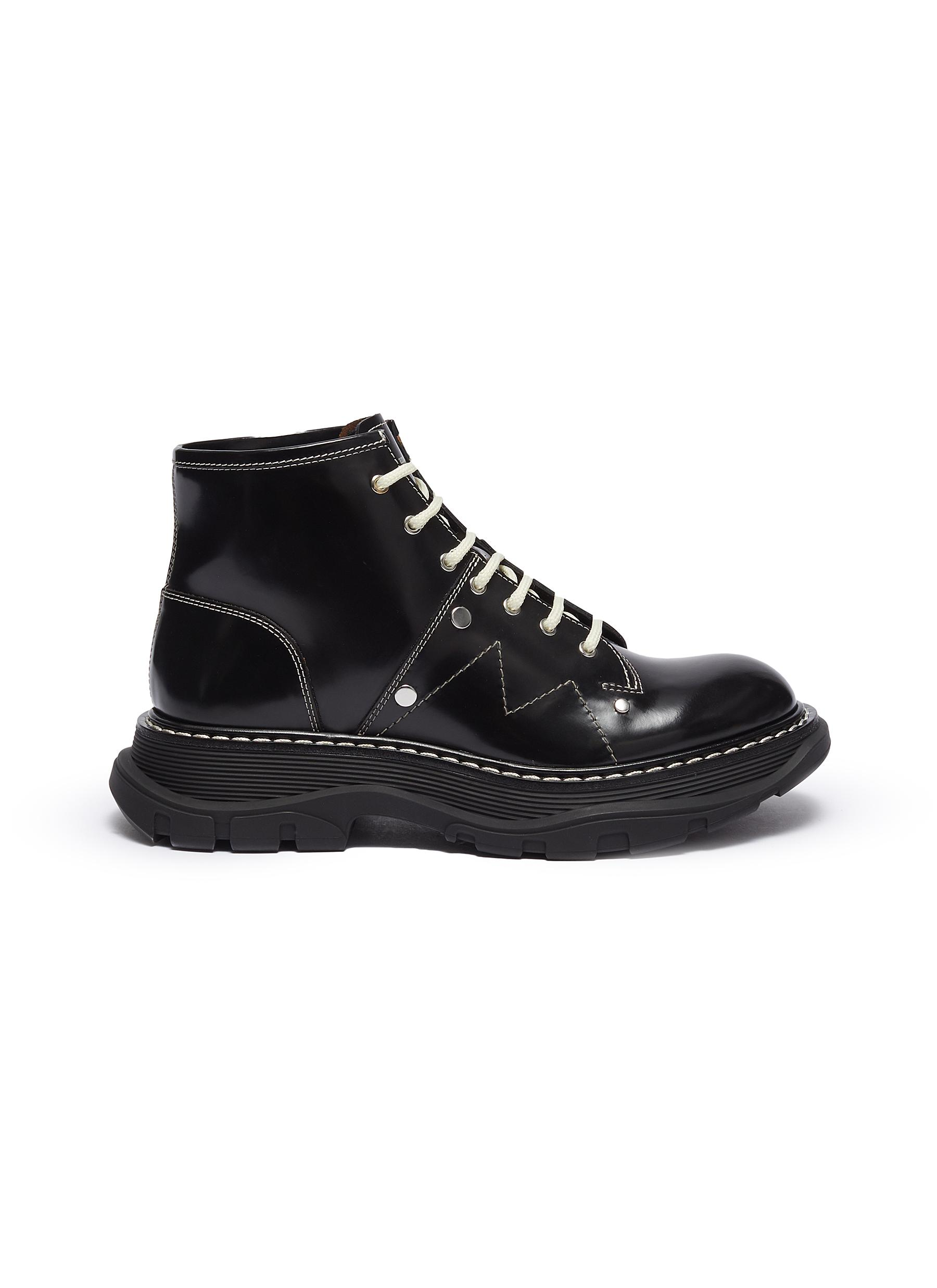shop Alexander Mcqueen Contrast stitching chunky outsole patent leather combat boots online