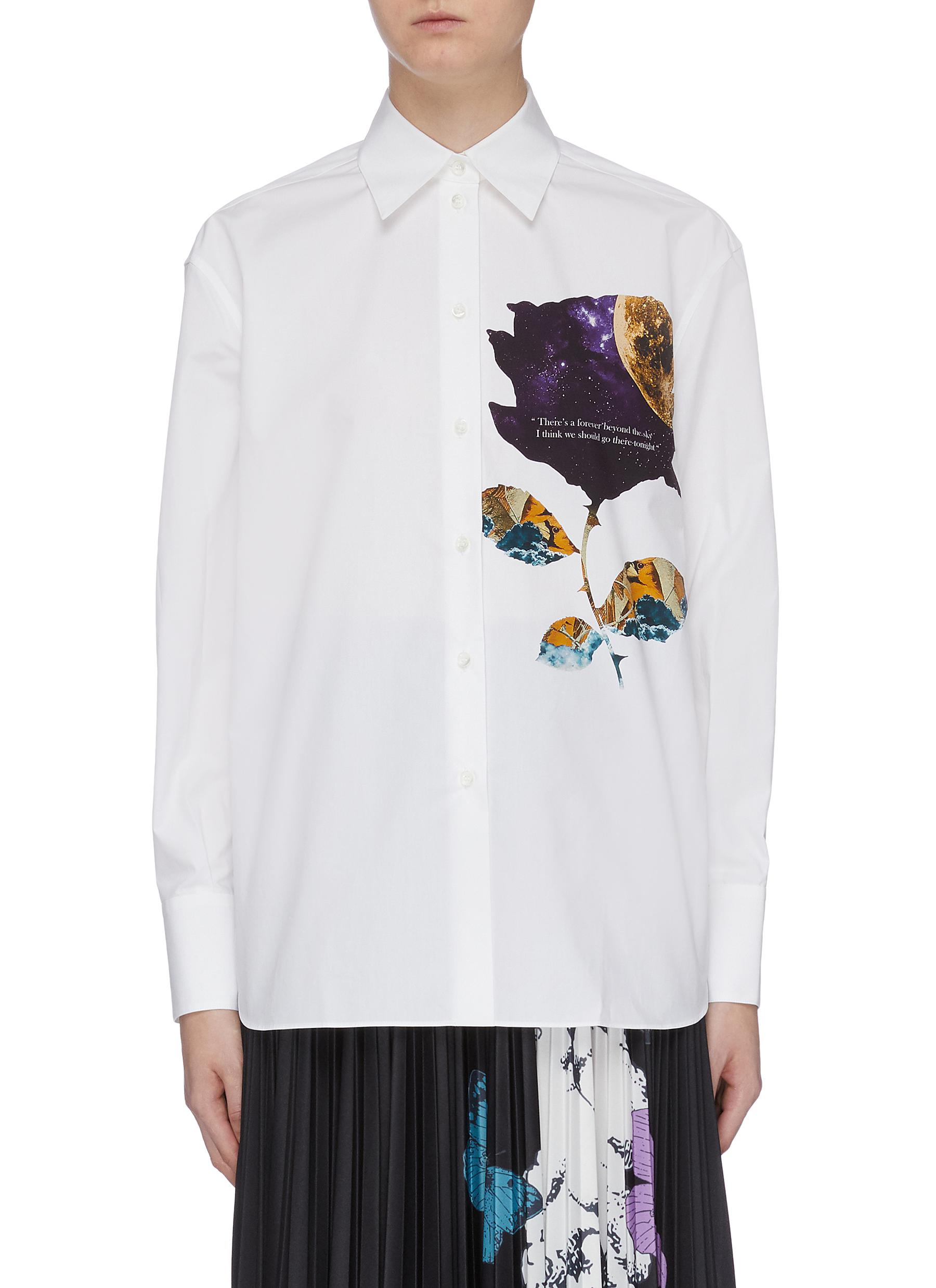 Cosmos rose slogan print shirt by Valentino