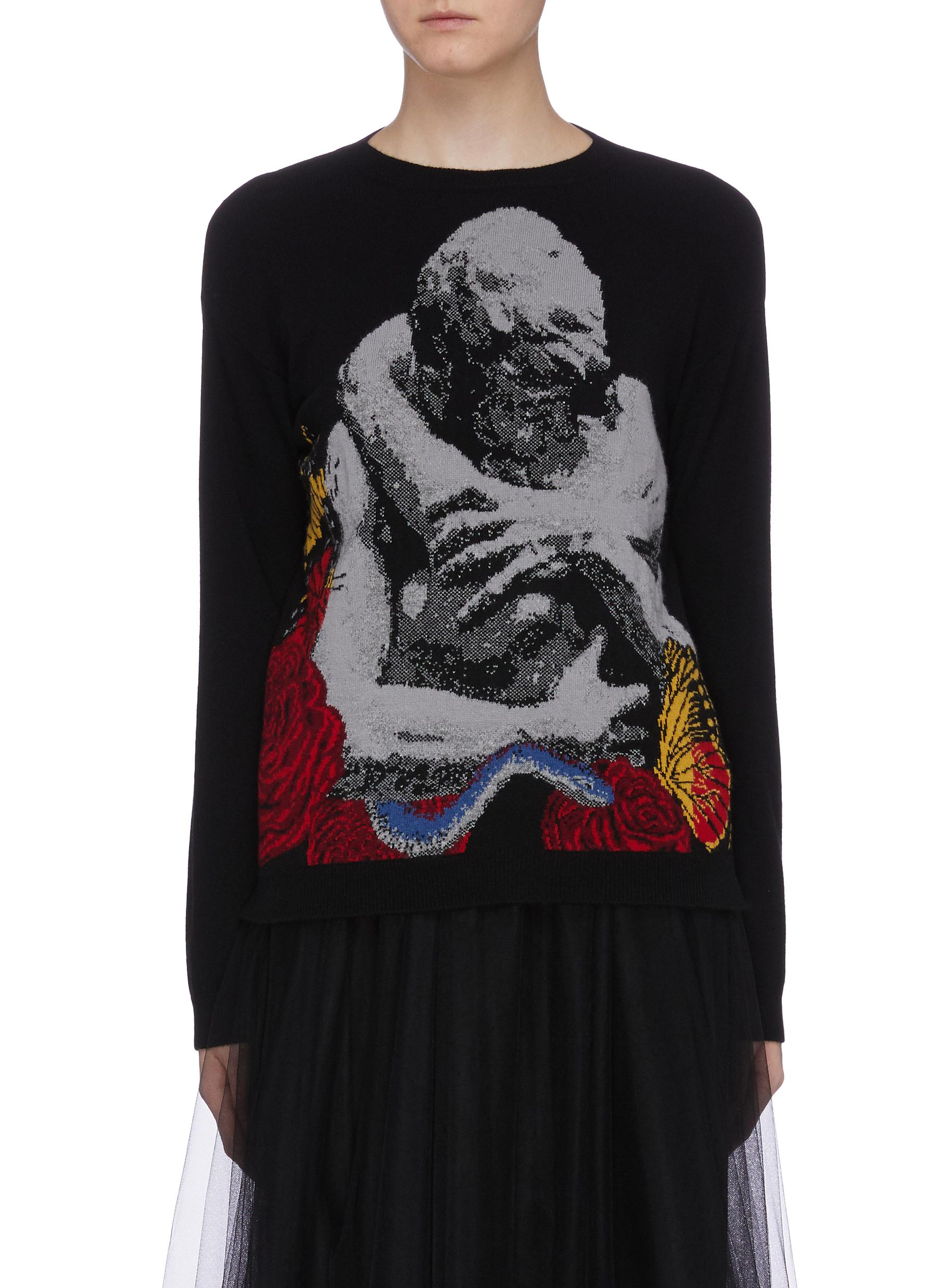 Lovers slogan intarsia sweater by Valentino