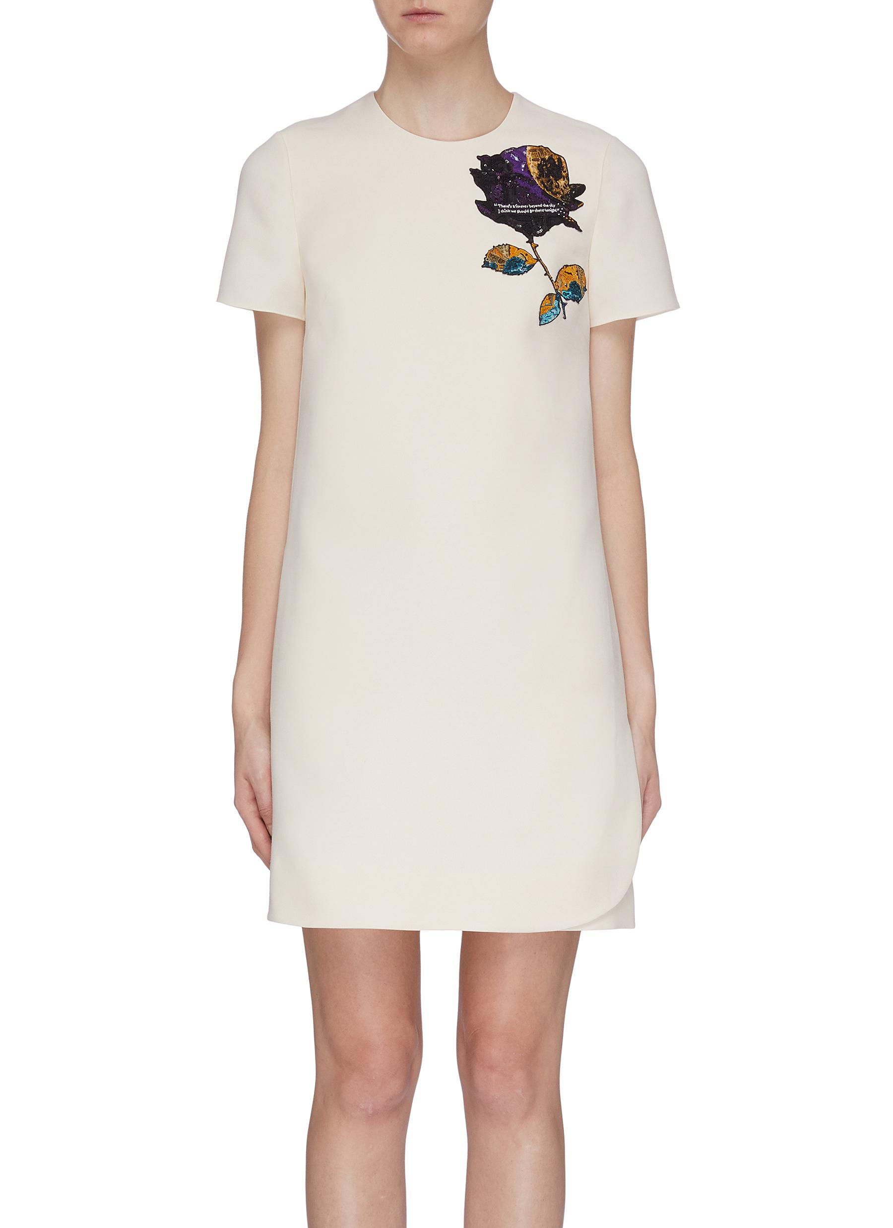 Cosmos Rose appliqué dress by Valentino