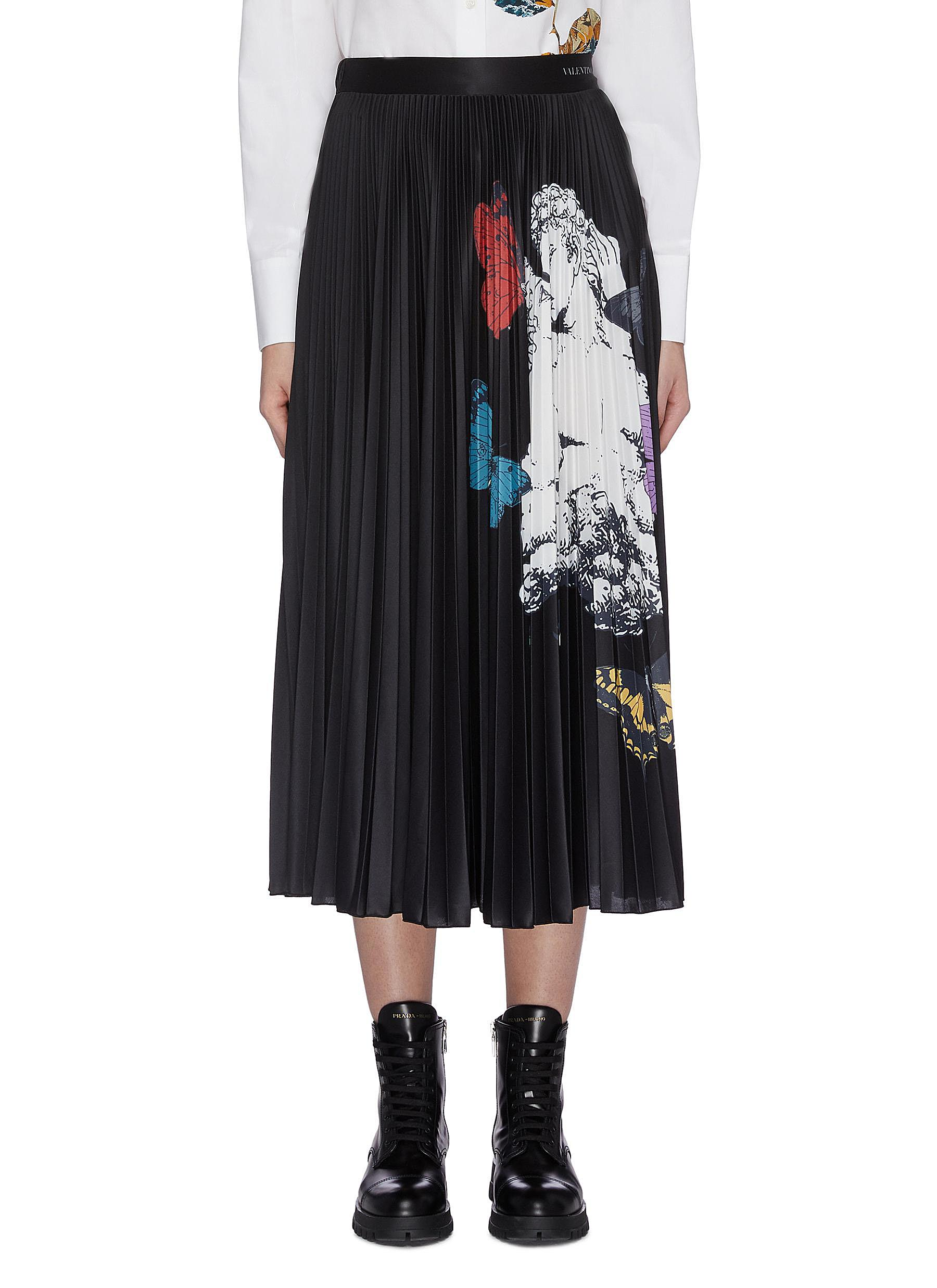 Lovers print pleated skirt by Valentino