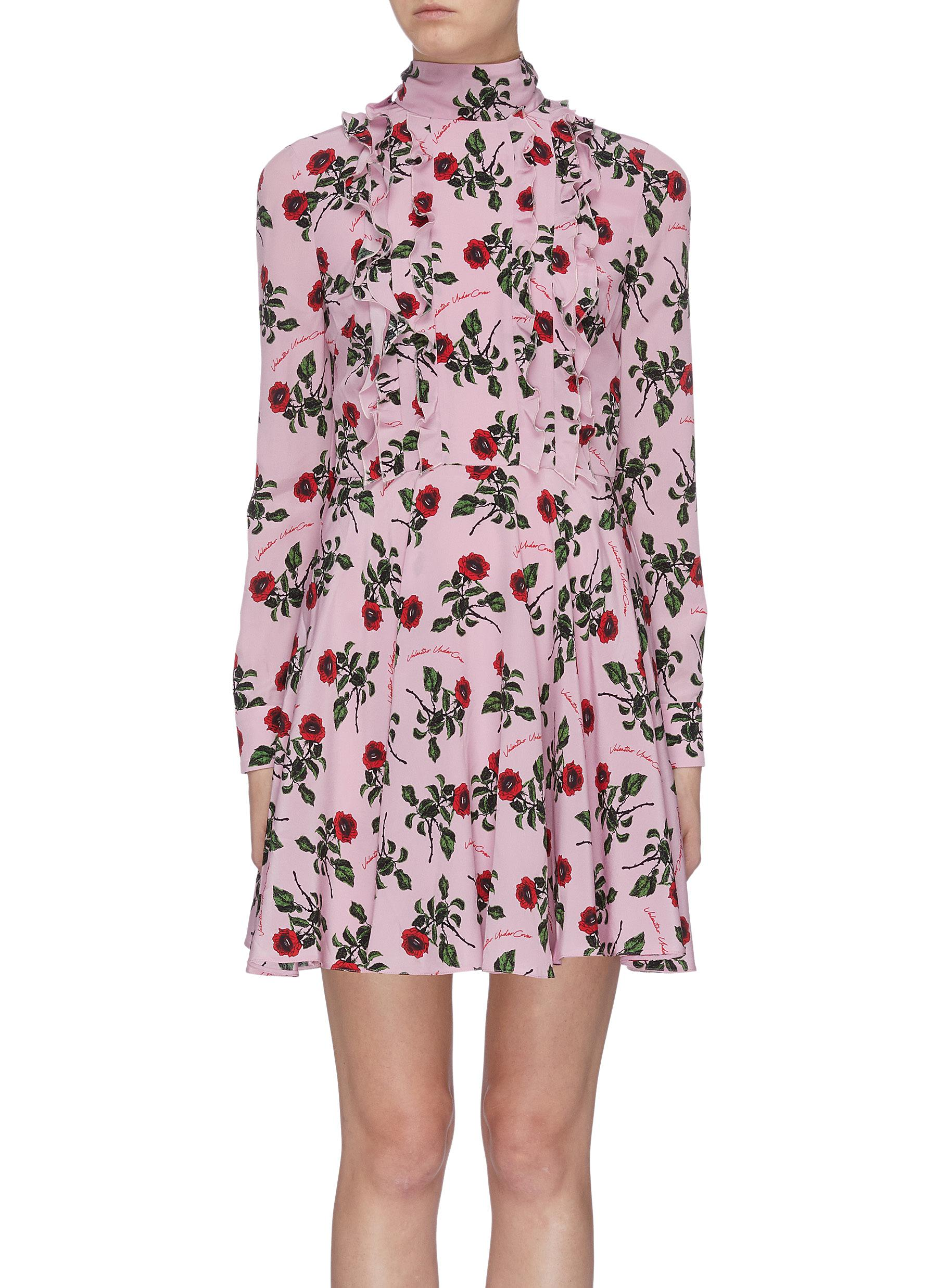 x UNDERCOVER ruffle rose print mock neck dress by Valentino