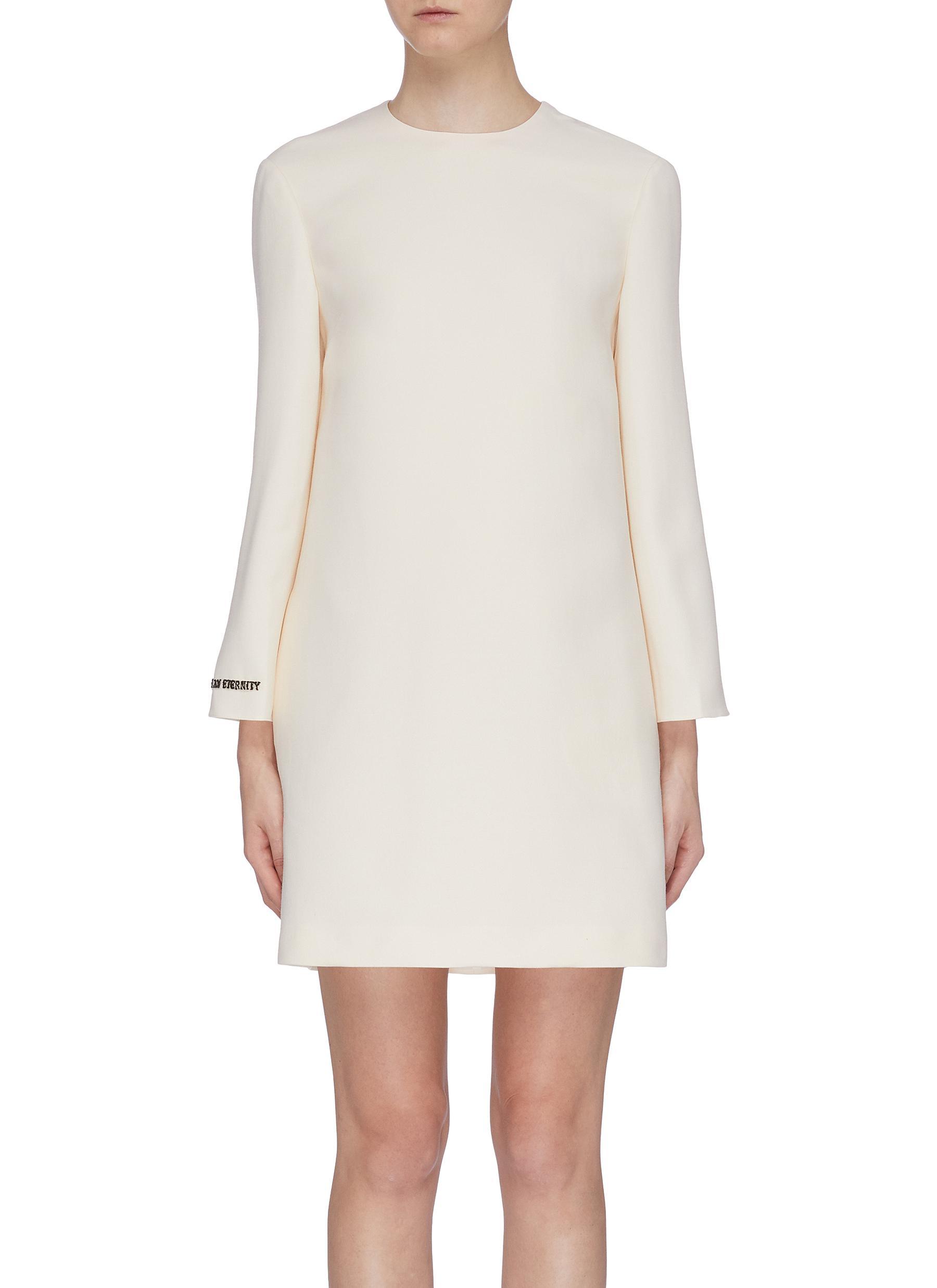 Slogan embellished long sleeve dress by Valentino