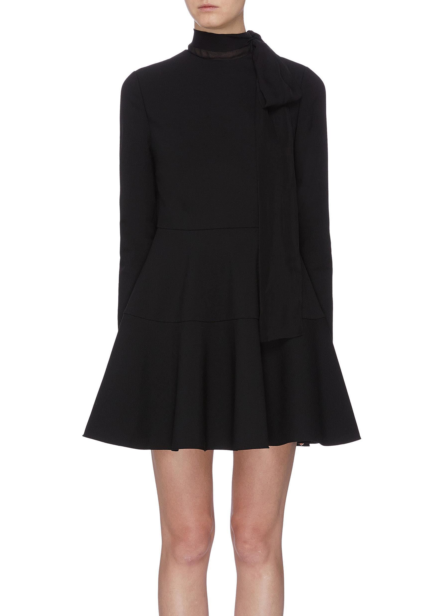 Sash tie neck tiered flared mini dress by Valentino
