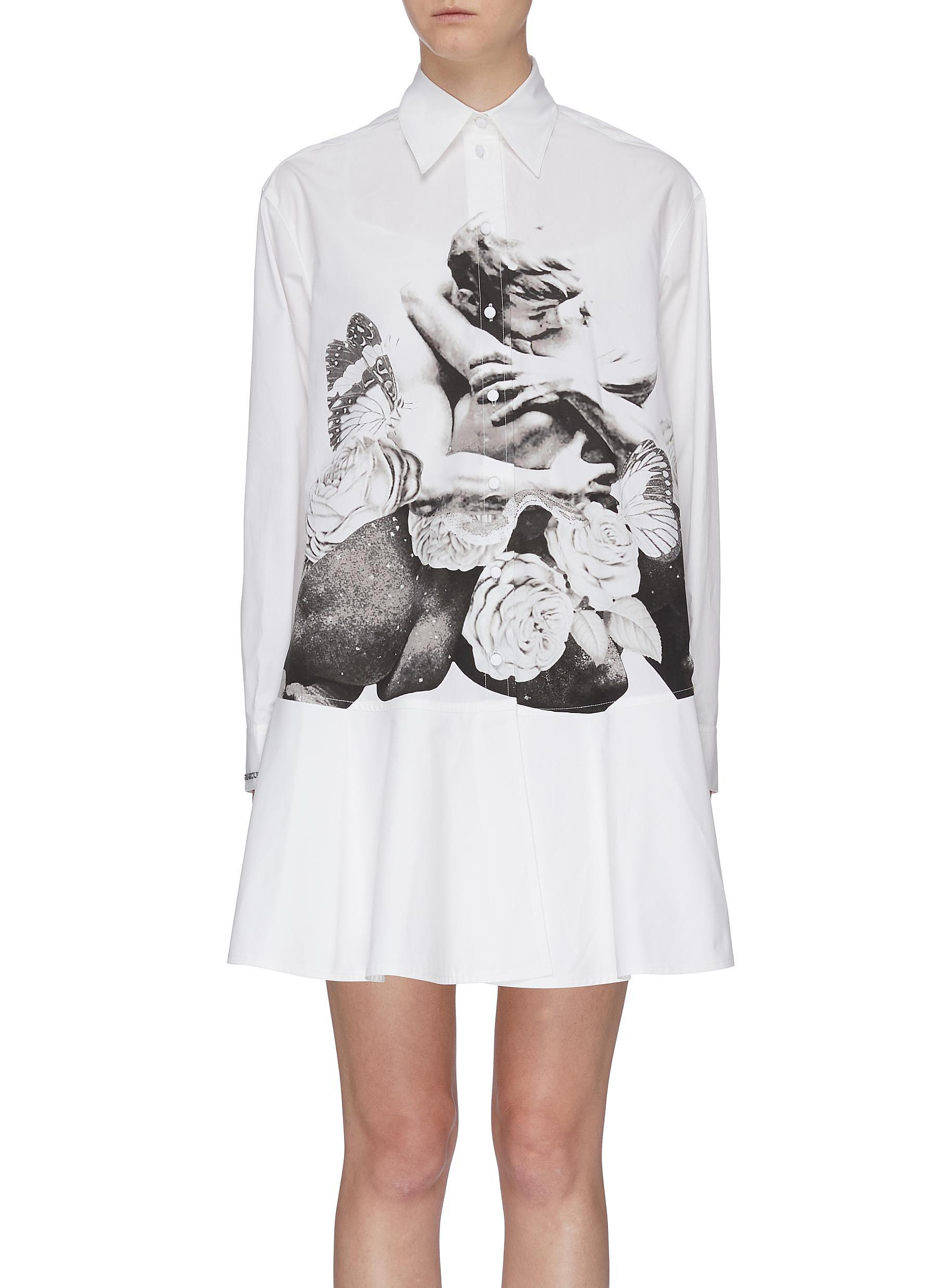 Lovers print peplum shirt dress by Valentino