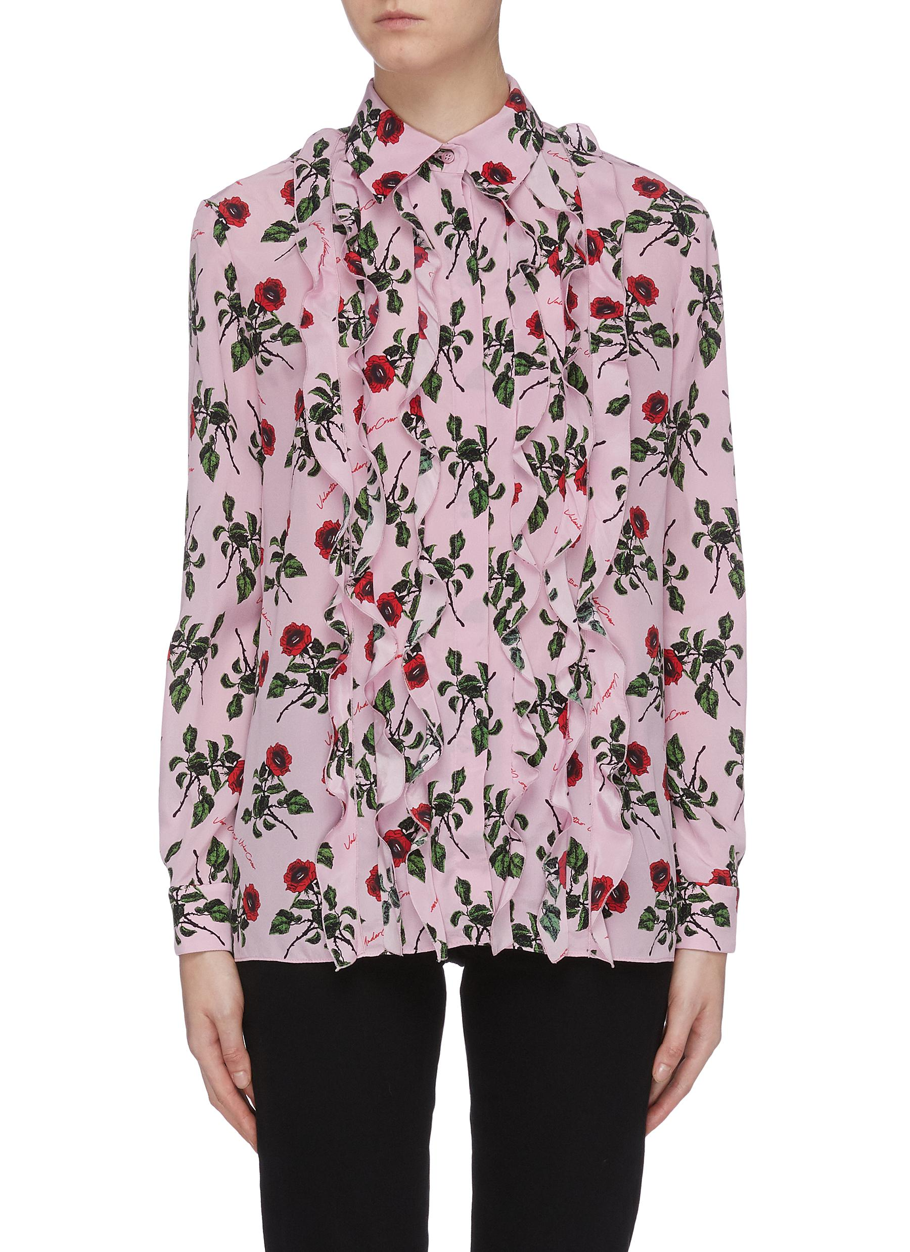 x UNDERCOVER ruffle rose print shirt by Valentino