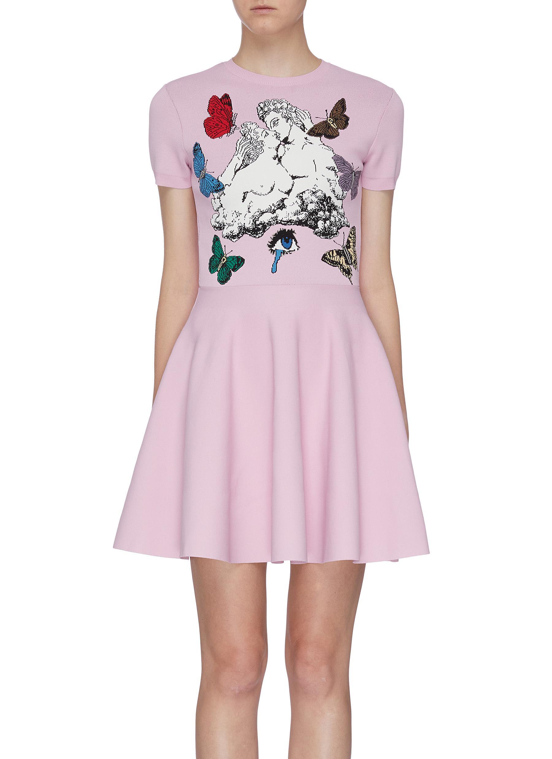 Lovers slogan jacquard flared dress by Valentino