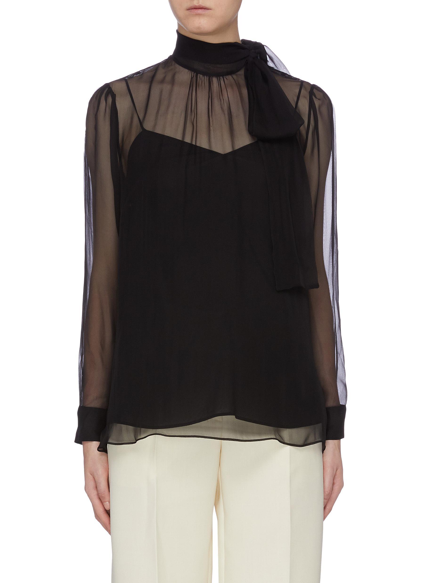 Sash tie neck silk chiffon top by Valentino