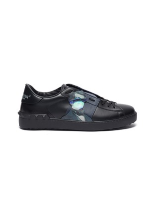 Main View - Click To Enlarge - VALENTINO - x UNDERCOVER 'Open' portrait UFO patch colourblock leather sneakers
