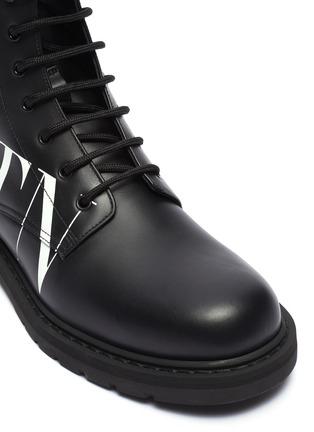 Detail View - Click To Enlarge - VALENTINO - Valentino Garavani 'VLTN' slogan print leather military boots
