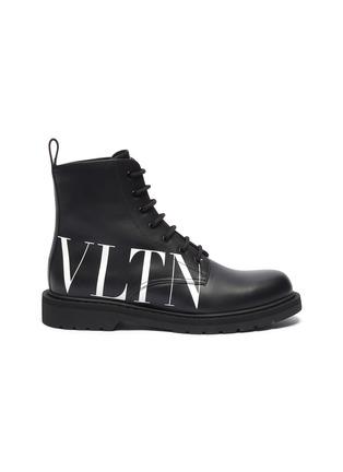 Main View - Click To Enlarge - VALENTINO - Valentino Garavani 'VLTN' slogan print leather military boots