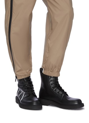 Figure View - Click To Enlarge - VALENTINO - Valentino Garavani 'VLTN' slogan print leather military boots