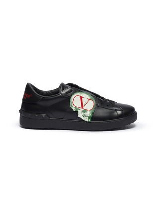 Main View - Click To Enlarge - VALENTINO - Valentino Garavani x UNDERCOVER 'Open' skull VLOGO patch leather sneakers