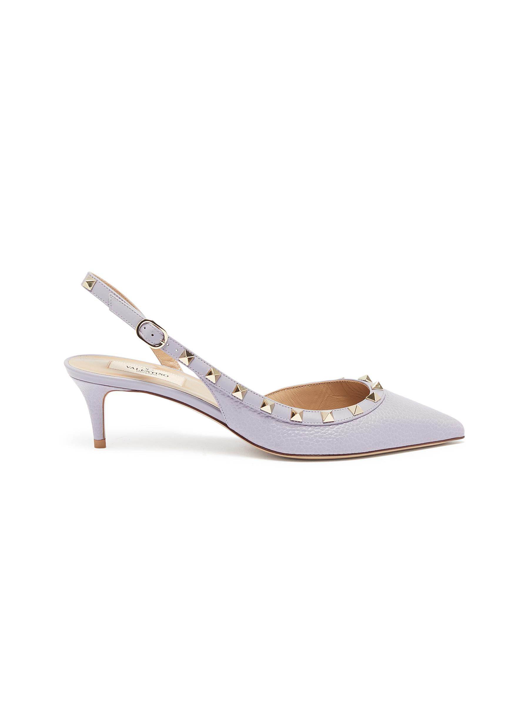 Rockstud grainy leather slingback pumps by Valentino