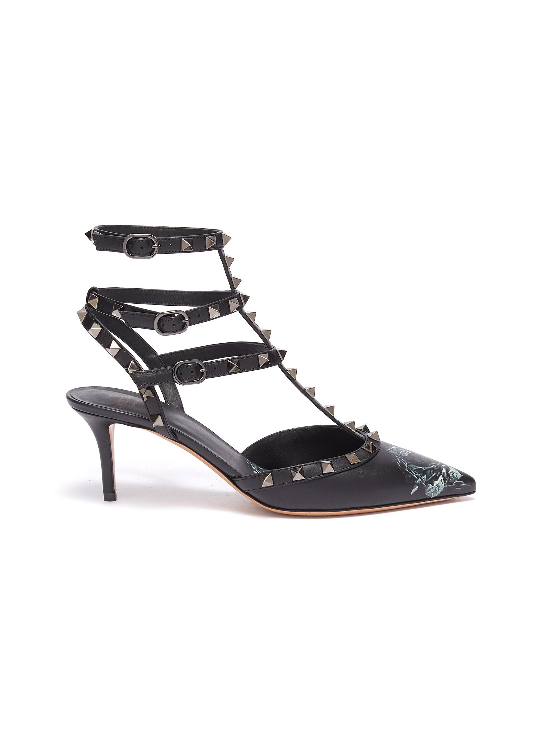 x UNDERCOVER Rockstud rose print leather strappy pumps by Valentino