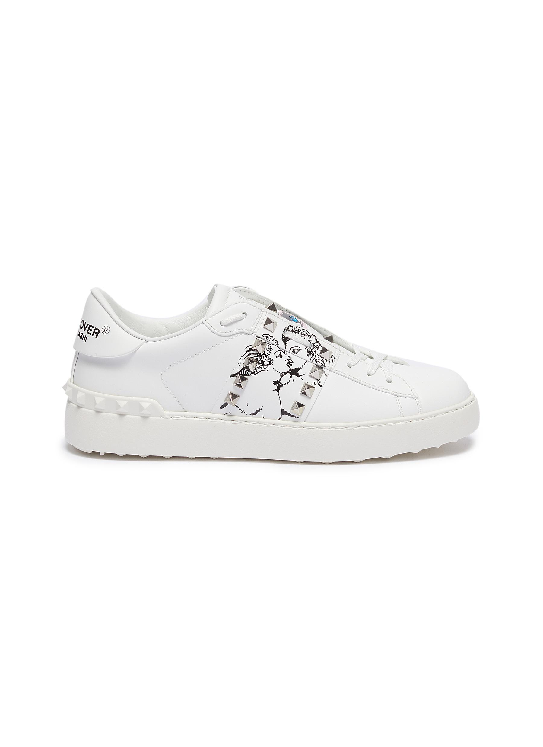 x UNDERCOVER Untitled lovers print leather sneakers by Valentino