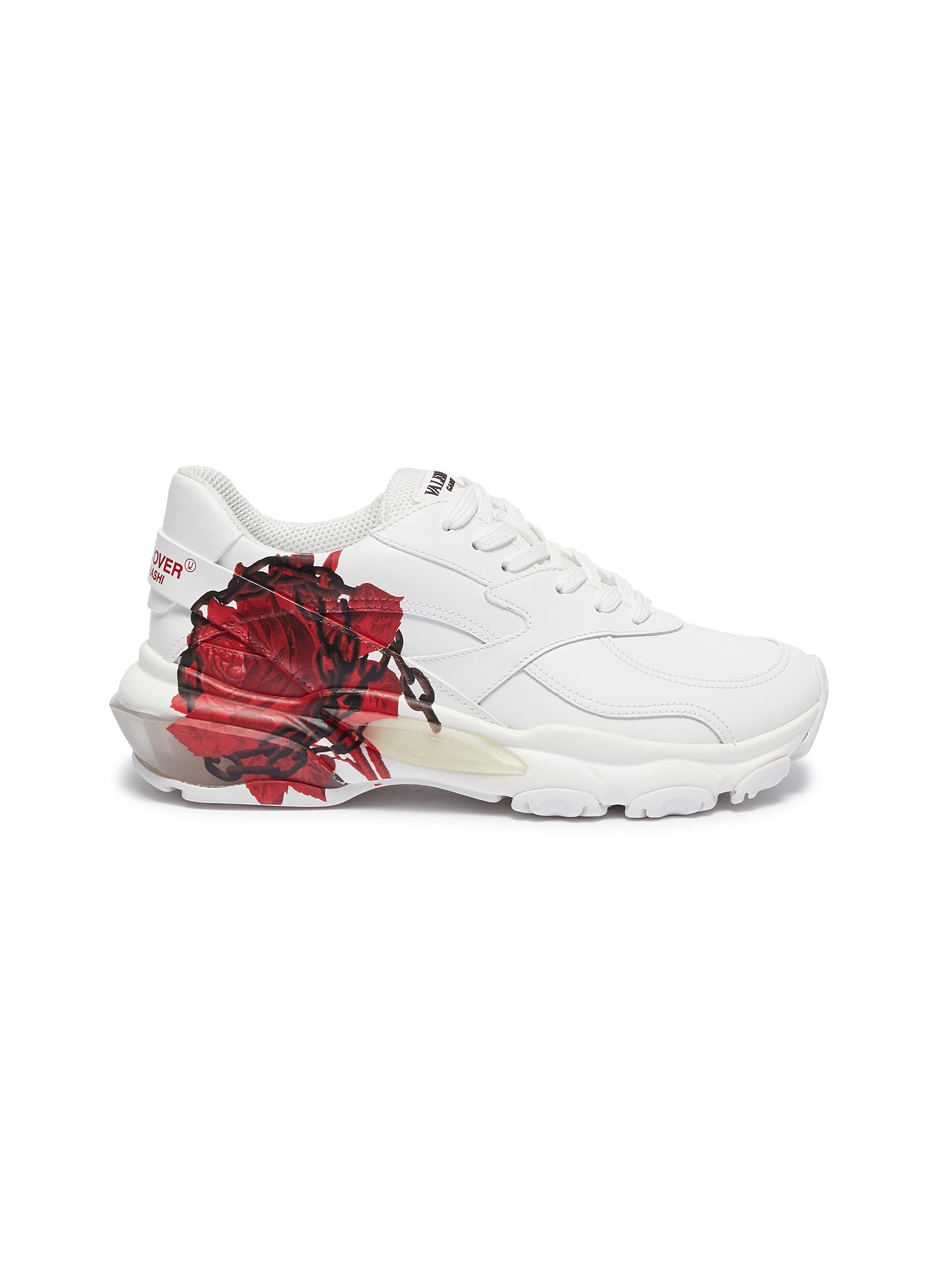 x UNDERCOVER Bounce rose print leather sneakers by Valentino