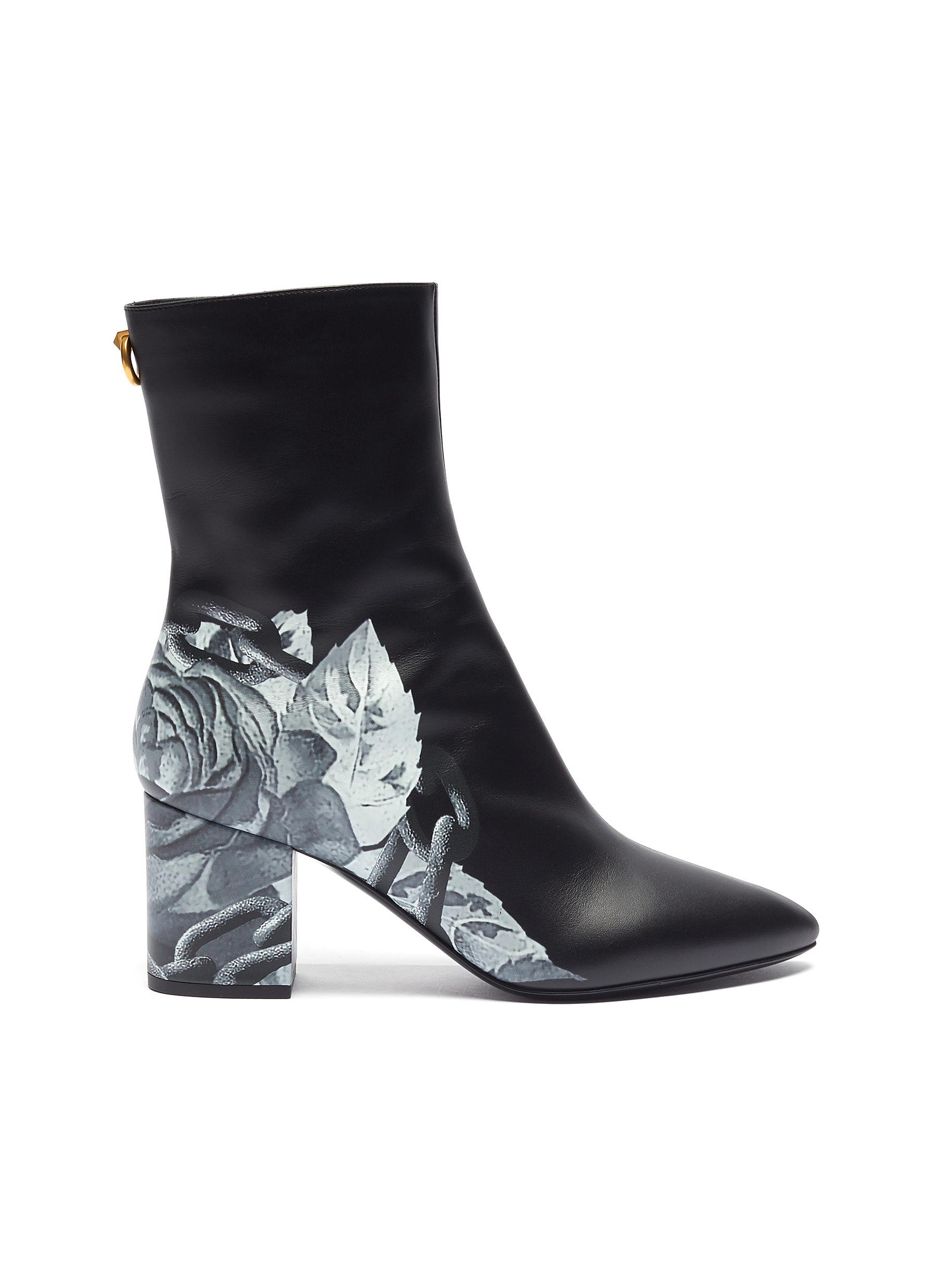 x UNDERCOVER rose print leather ankle boots by Valentino