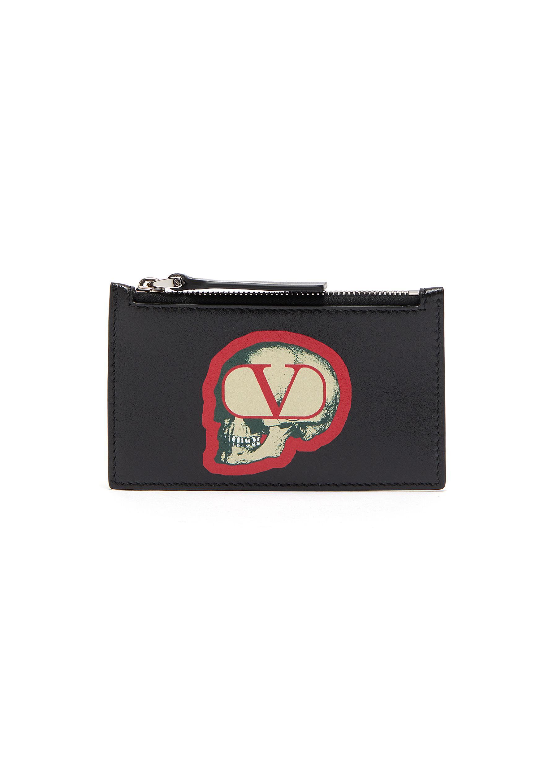 Valentino X Undercover Skull Vlogo Print Leather Card Holder