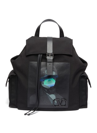 Main View - Click To Enlarge - VALENTINO - Valentino Garavani x UNDERCOVER face UFO print patch backpack