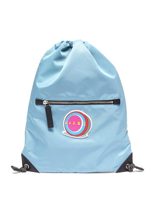 Main View - Click To Enlarge - MARNI - Textured logo patch colourblock nylon drawstring bag