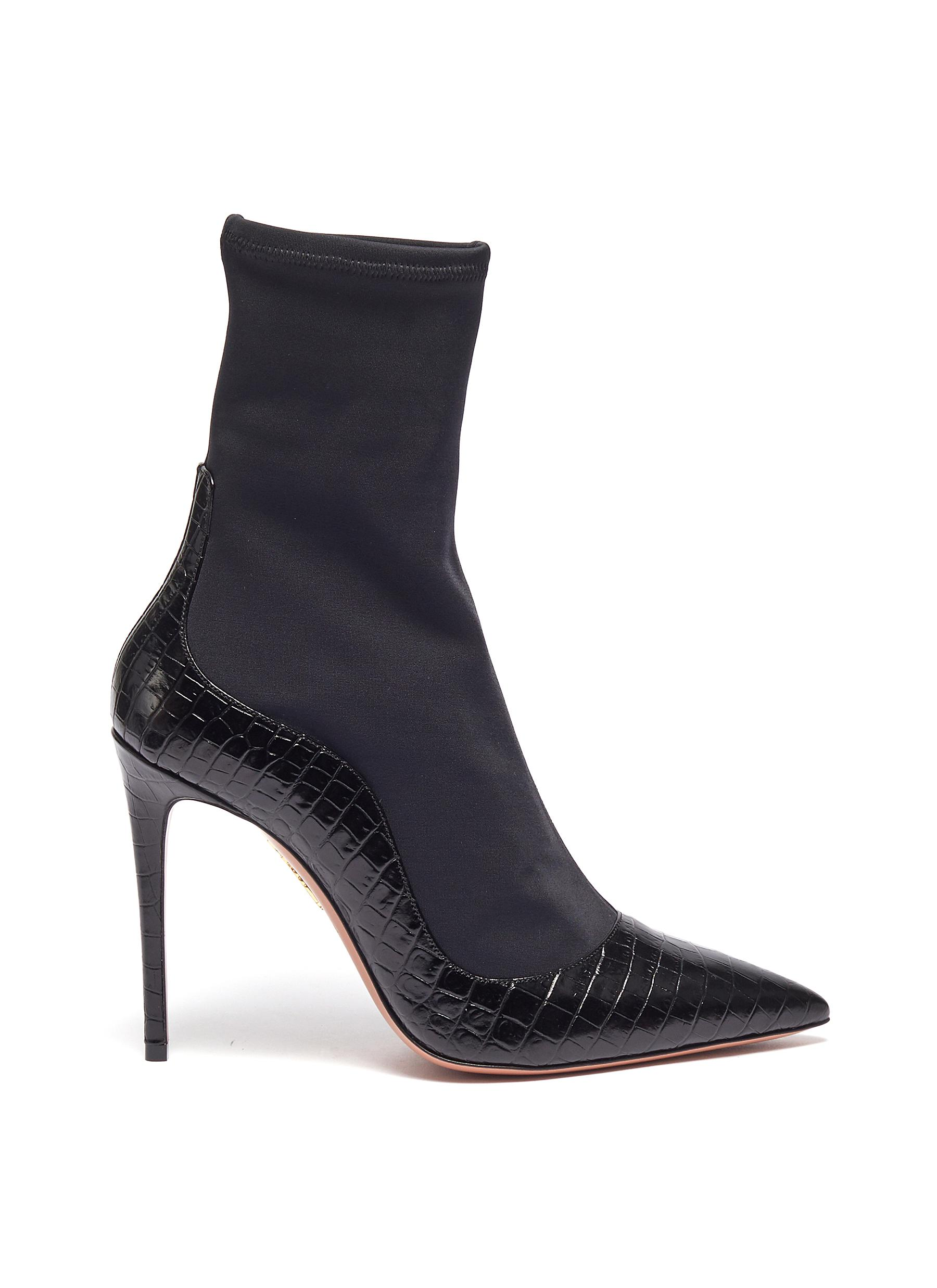 Zen croc embossed leather sock knit ankle boots by Aquazzura
