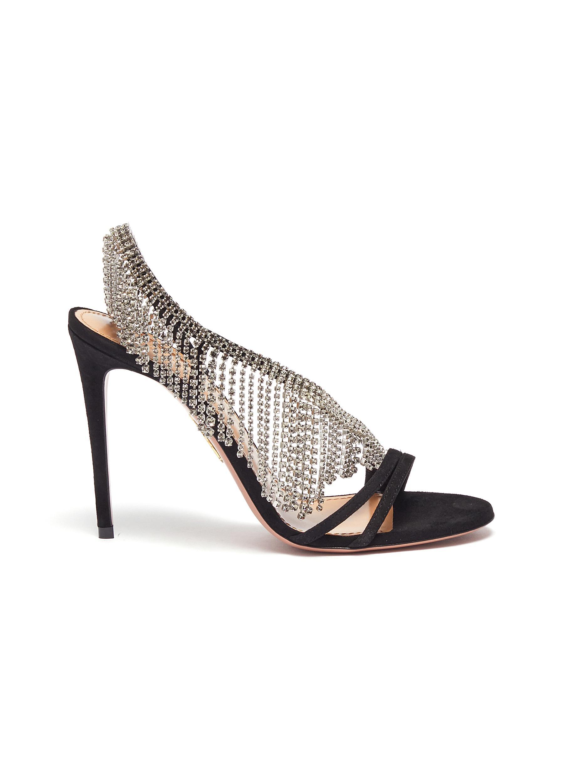 Wild glass crystal fringe suede strappy sandals by Aquazzura