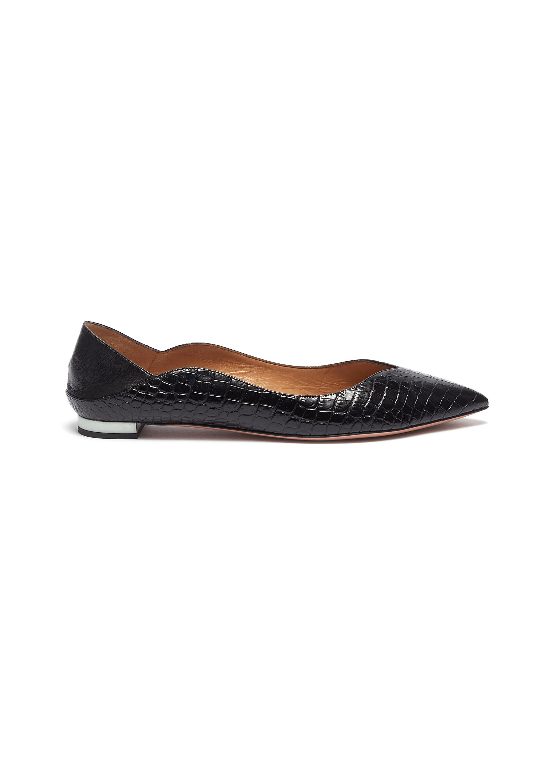 Zen scalloped croc embossed leather step-in flats by Aquazzura