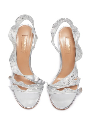 Detail View - Click To Enlarge - AQUAZZURA - 'Ruffle' glass crystal embellished metallic leather sandals