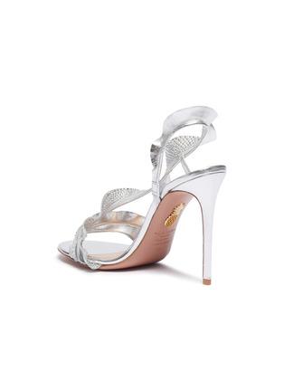 - AQUAZZURA - 'Ruffle' glass crystal embellished metallic leather sandals