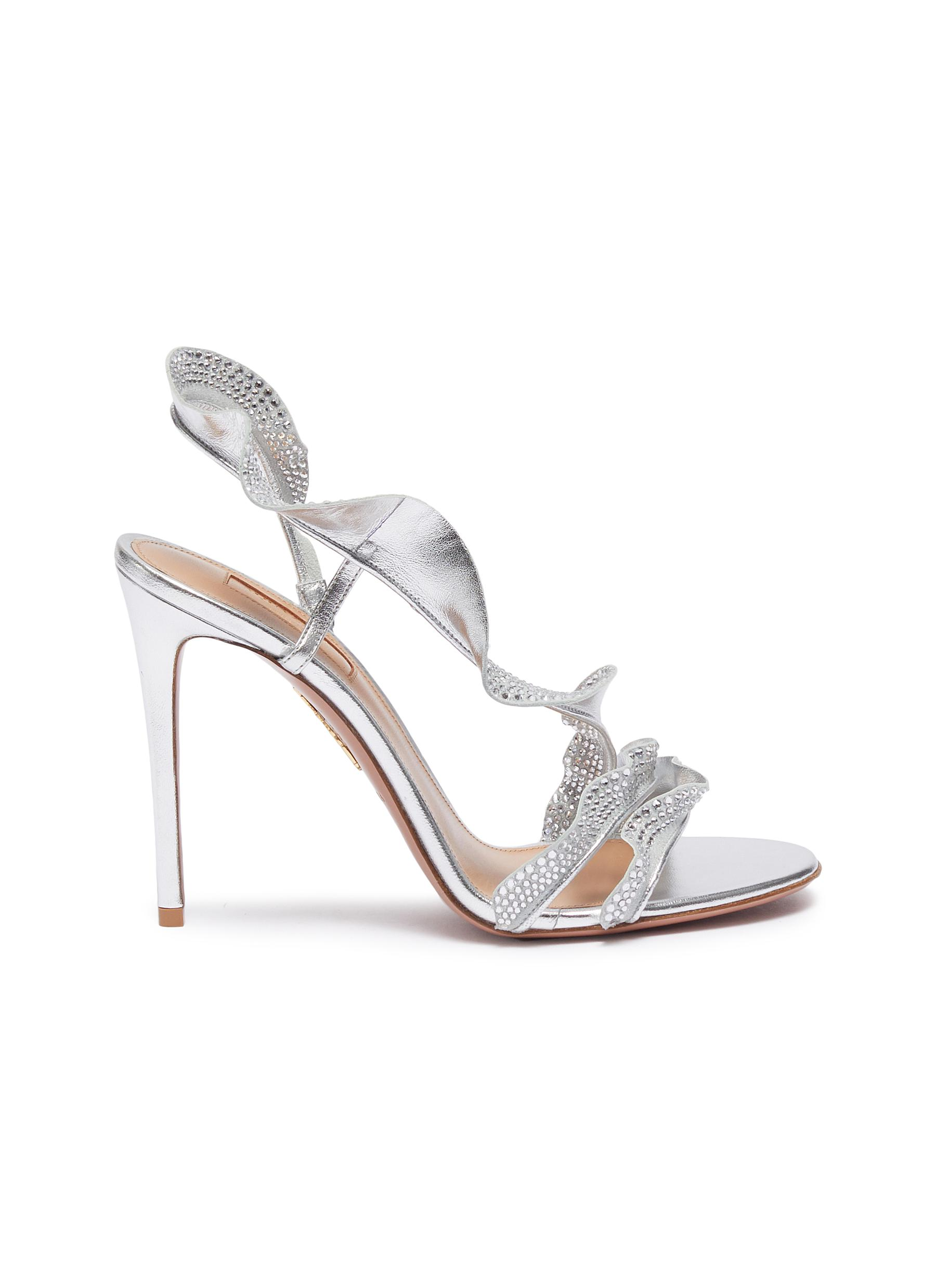 Ruffle glass crystal embellished metallic leather sandals by Aquazzura