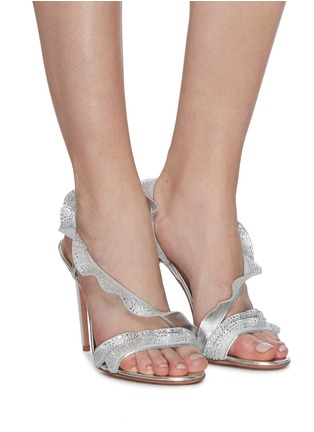 Figure View - Click To Enlarge - AQUAZZURA - 'Ruffle' glass crystal embellished metallic leather sandals