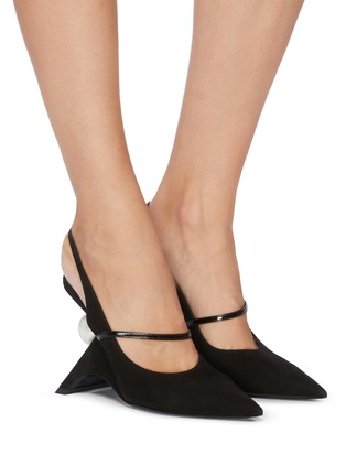 Figure View - Click To Enlarge - NICHOLAS KIRKWOOD - 'Jazzelle' structural heel slingback suede pumps