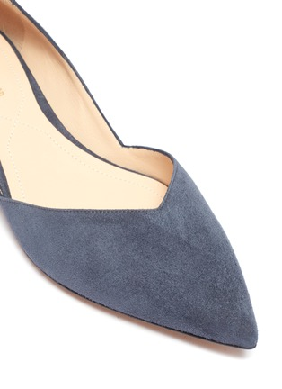 Detail View - Click To Enlarge - NICHOLAS KIRKWOOD - 'Casati' faux pearl heel suede d'Orsay flats