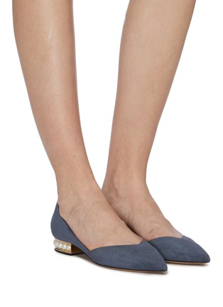Figure View - Click To Enlarge - NICHOLAS KIRKWOOD - 'Casati' faux pearl heel suede d'Orsay flats