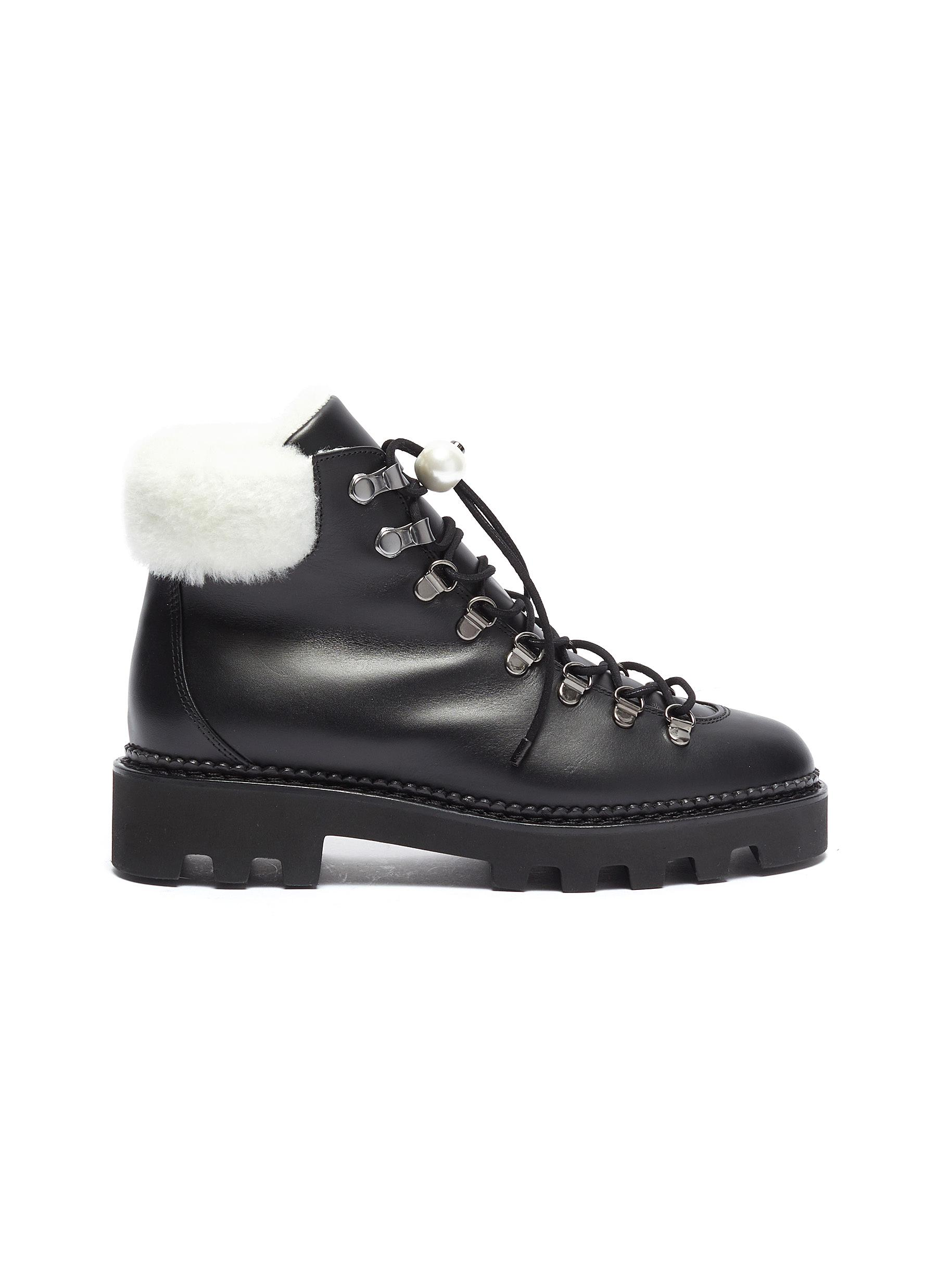 Delfi shearling collar leather hiking boots by Nicholas Kirkwood