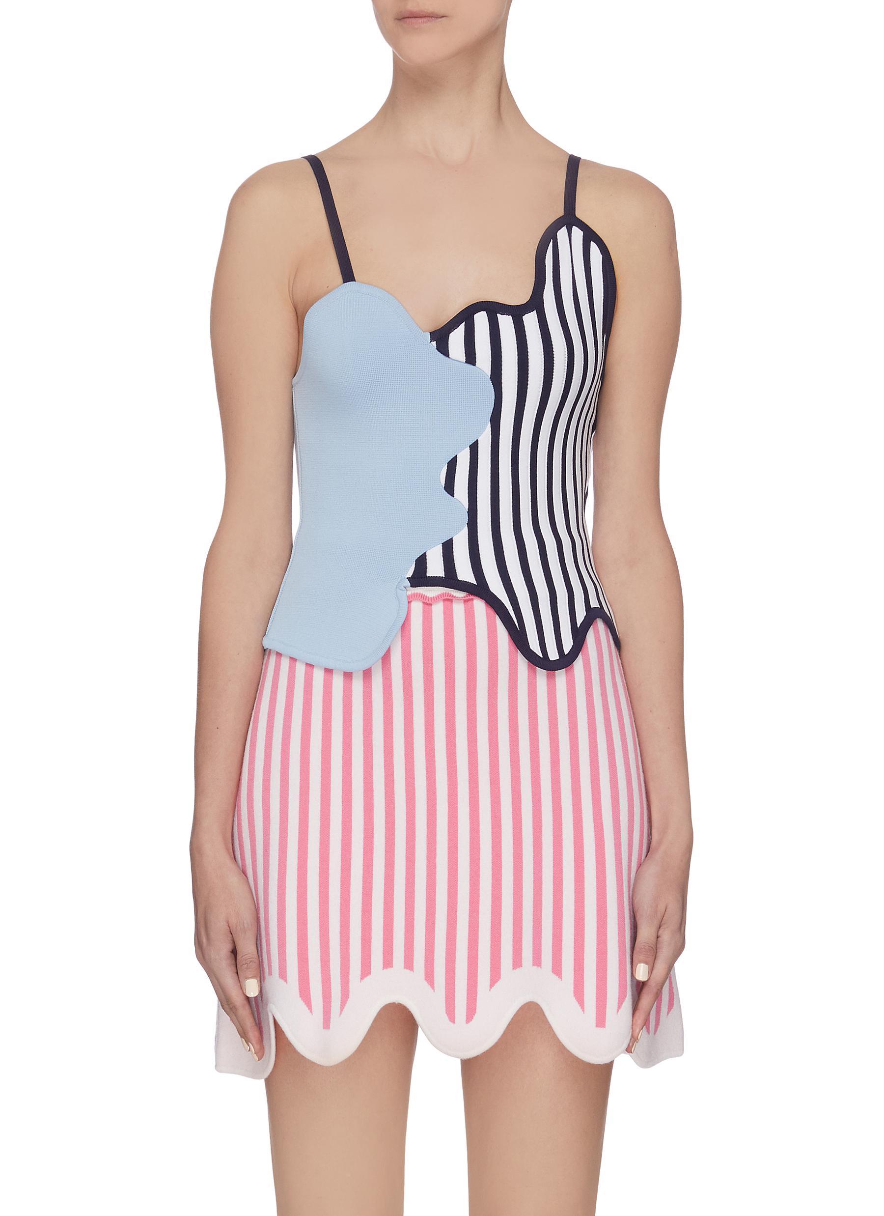 Buy Ph5 Tops Colourblock panelled stripe wavy neckline tanktop
