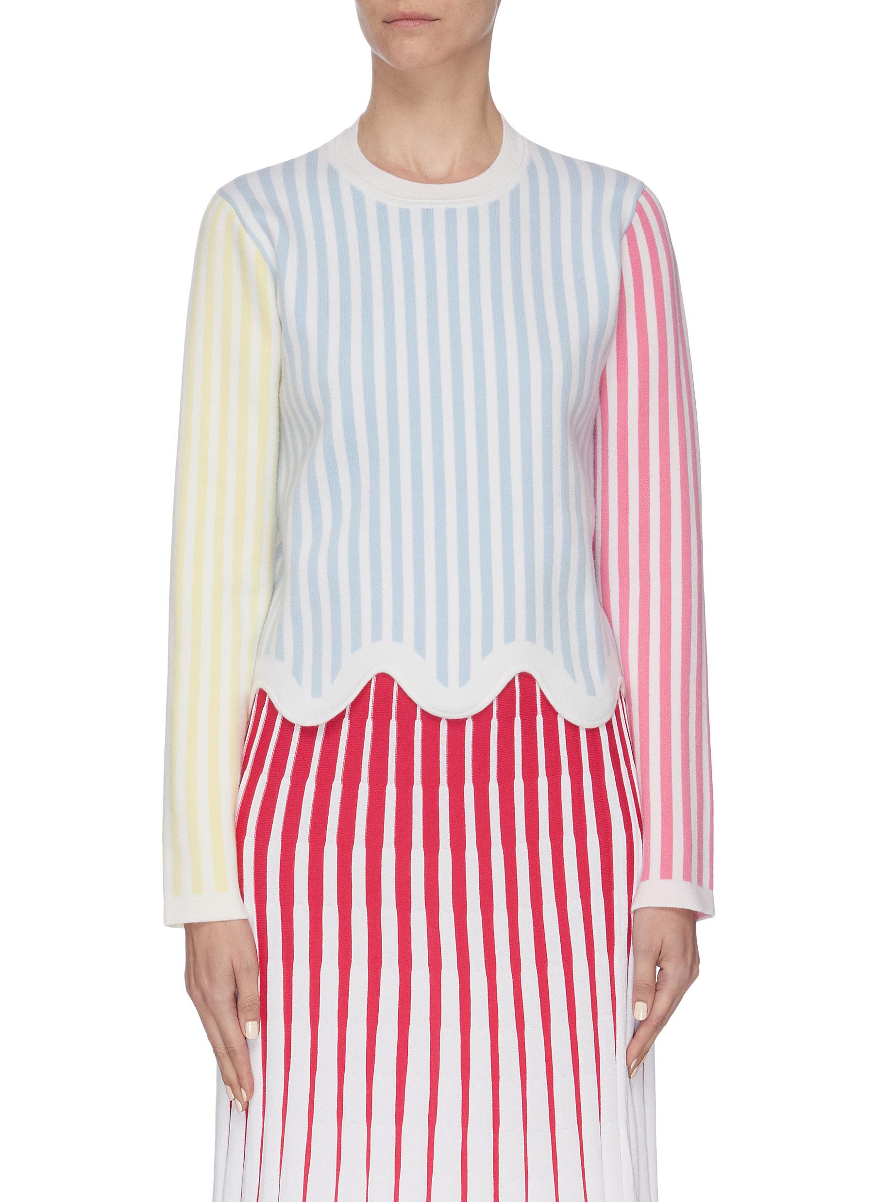 shop Ph5 Colourblock stripe print wavy hem sweatshirt online