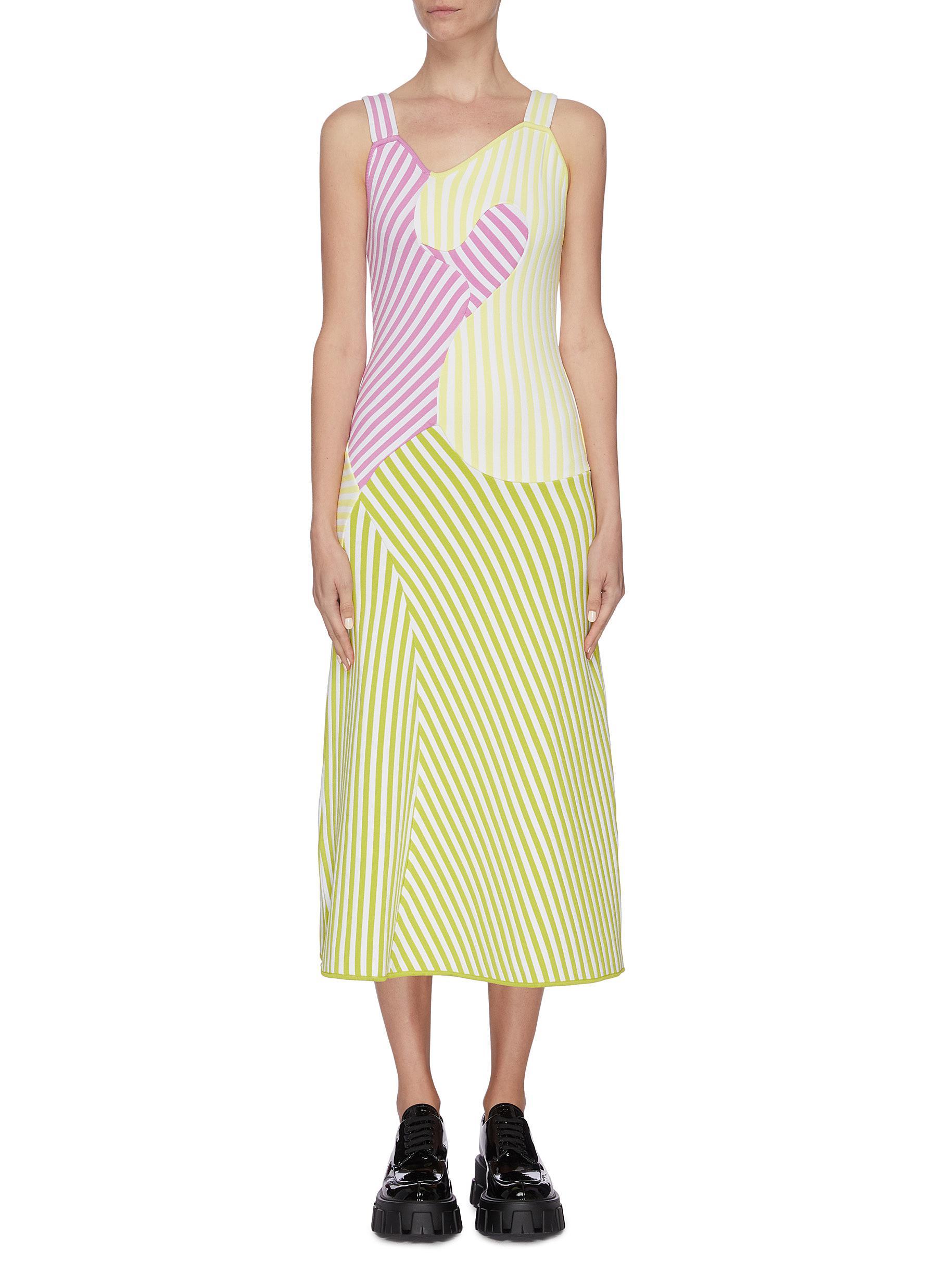 Buy Ph5 Dresses 'Talia' wave print stripe colourblock dress