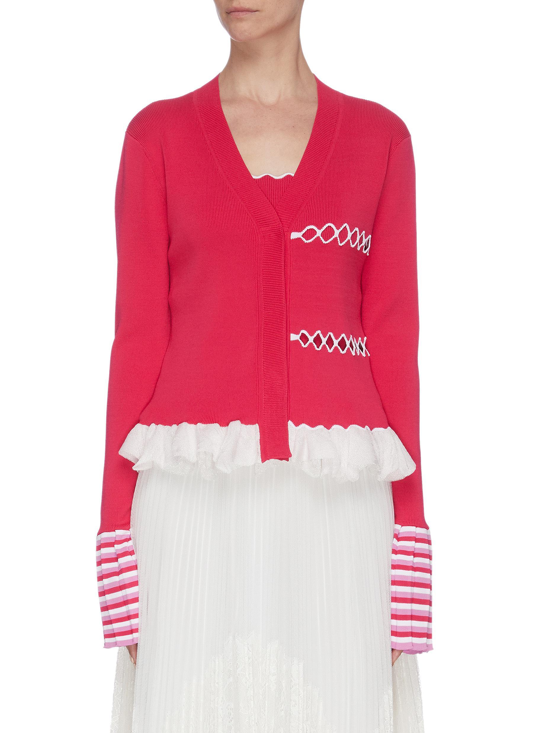 shop Ph5 Contrast ruffle hem stripe cuff cardigan online