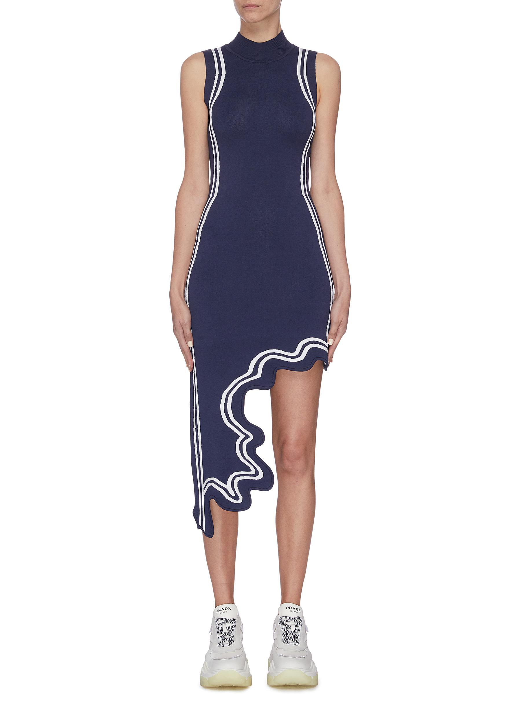 Buy Ph5 Dresses Asymmetric wavy hem high neck sleeveless dress