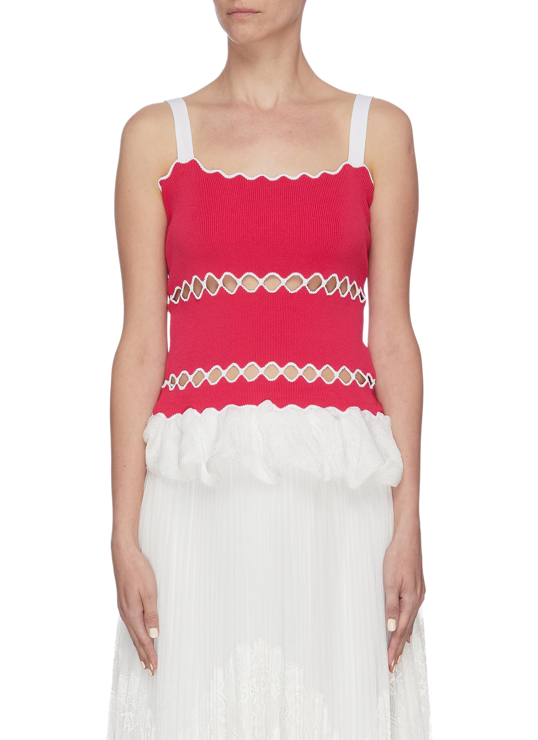shop Ph5 'Aster' wavy ruffle hem cutout tank top online